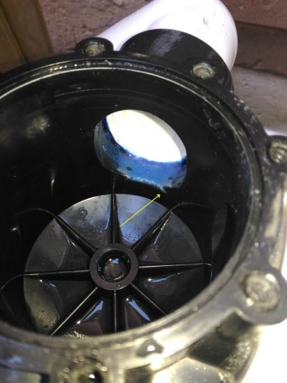 Pool valve interior showing where too much solvent had flowed in to the chamber